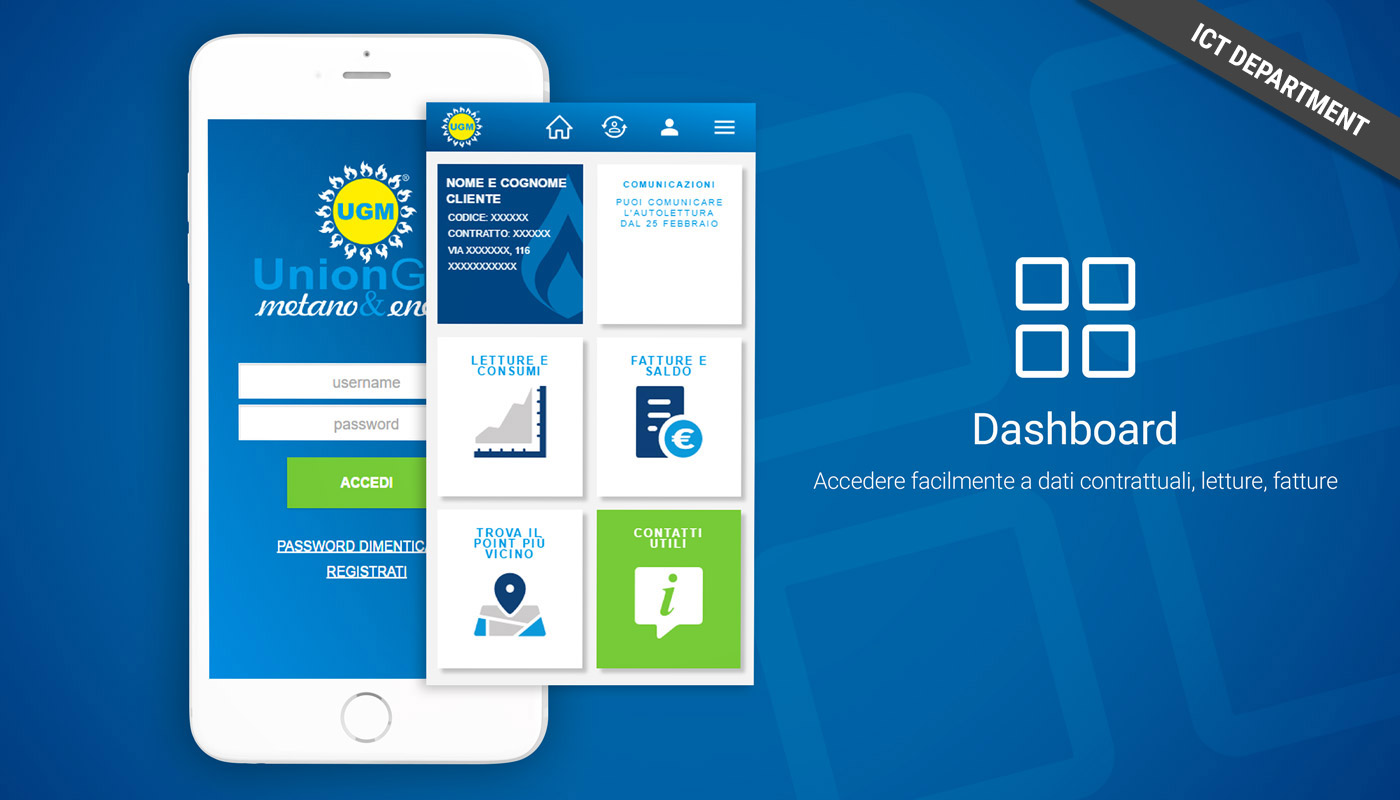 App Union Gas e Luce, screenshot login e dashboard